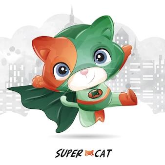 Super gata fofa com ilustração em aquarela