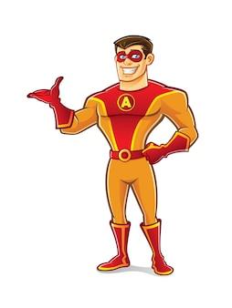 Super-herói bonito dos desenhos animados usando uma máscara está de pé e convidar para acolher