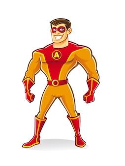 Super-herói bonito dos desenhos animados usando uma máscara estava de pé com confiança
