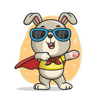 Super-herói coelhinho fofo isolado no fundo branco.