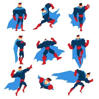 Super-herói com capa azul em quadrinhos diferentes poses clássicas adesivos