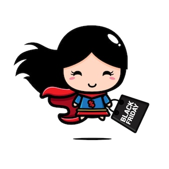 Super-herói com sacola preta de compras sexta-feira