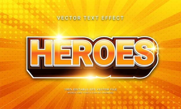 Super-herói com tema de efeito de texto editável heroes