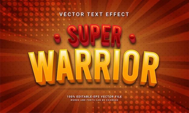 Super herói com tema de efeito de texto editável super guerreiro