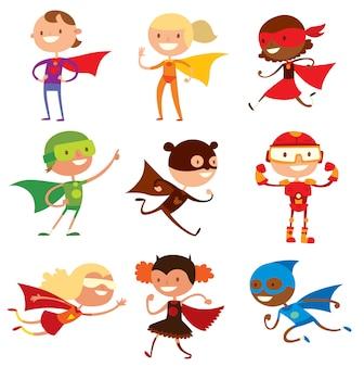 Super-herói crianças meninos e meninas cartoon ilustração em vetor