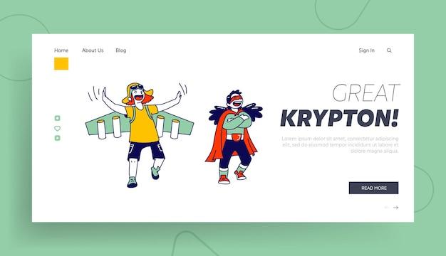 Super-herói crianças personagens alegram-se e se divertindo modelo de página inicial.
