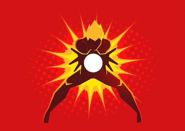 Super-herói criando uma explosão de energia através de suas mãos