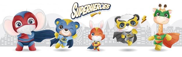 Super-herói de animais fofos com ilustração em aquarela