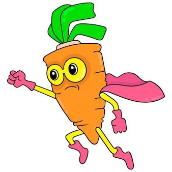 Super-herói de cenoura vegetal é nutritivo e vitamina, arte de ilustração vetorial. imagem de ícone do doodle kawaii.