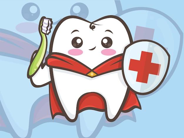 Super-herói de dente bonito segurando uma escova de dentes e um escudo. personagem de desenho animado.