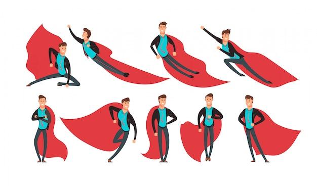 Super herói de empresário dos desenhos animados em ações e poses diferentes vector set