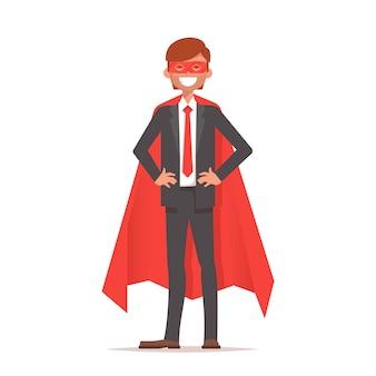 Super-herói de empresário ou trabalhador de escritório em uma capa vermelha em pé em uma pose confiante.
