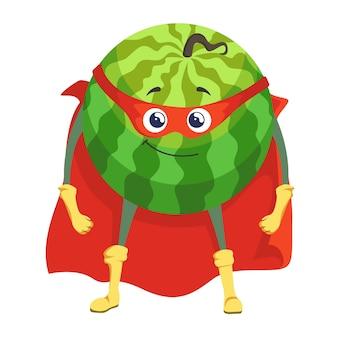 Super-herói de melancia com máscara de capa e