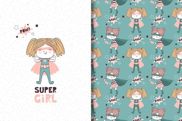 Super-herói de menina desenhada de mão. cartão e padrão sem emenda