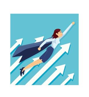 Super-herói de mulher de negócios com as capas voando