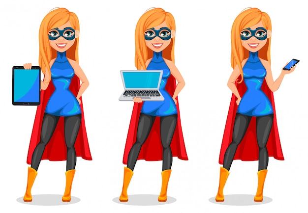 Super-herói de mulher de negócios, conjunto de três poses