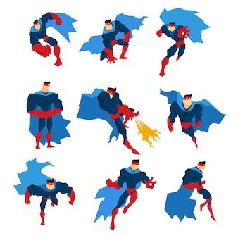 Super-herói de quadrinhos com capa azul em ação clássica coloca adesivos