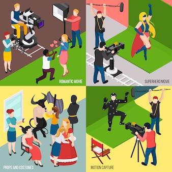 Super herói e movimento de filmes românticos capturar conceito isométrico de adereços e trajes de cinema isolado