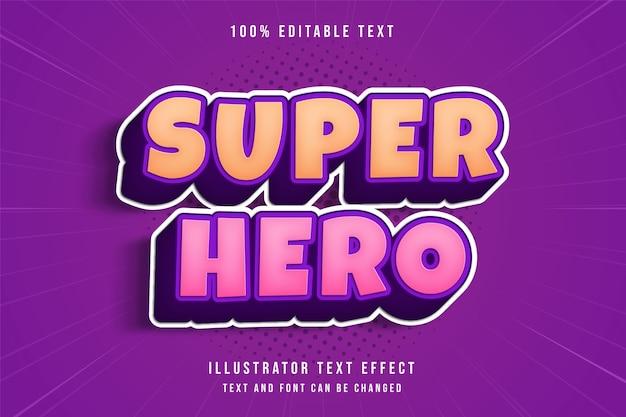 Super-herói, efeito de texto editável em 3d gradação amarela rosa roxo sombra em quadrinhos estilo de texto