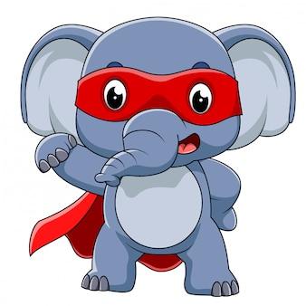 Super herói elefante dos desenhos animados de ilustração