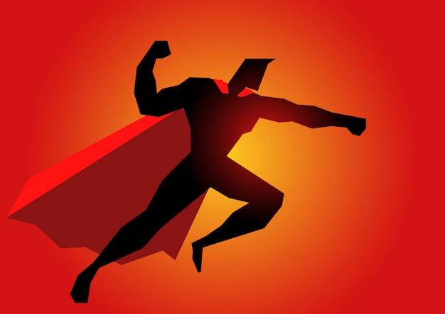 Super-herói em ação pose