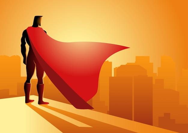 Super-herói em pé na beira de um edifício