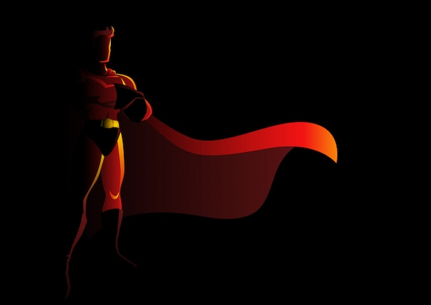 Super-herói em pose galante