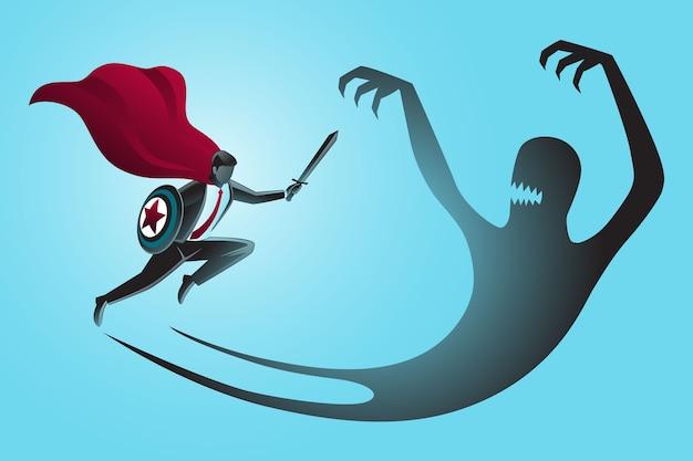 Super-herói empresário com espada e escudo lutando com sua própria sombra maligna