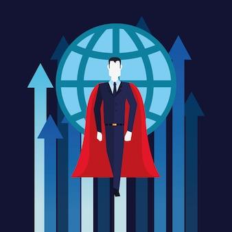 Super-herói empresário voando crescimento setas negócios mundiais