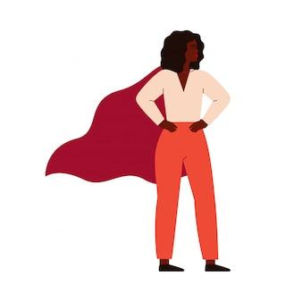 Super-herói forte mulher negra usando capa. conceito de feminismo, poder feminino.