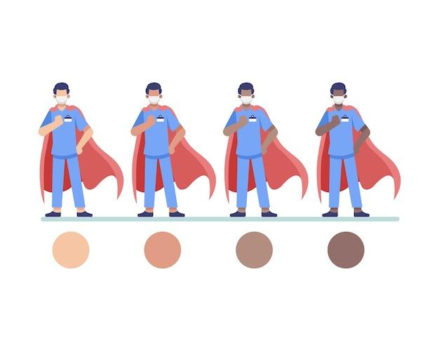 Super-herói, médico, profissional de saúde ou enfermeira, personagem usando capas vermelhas