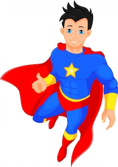 Super herói menino polegar para cima