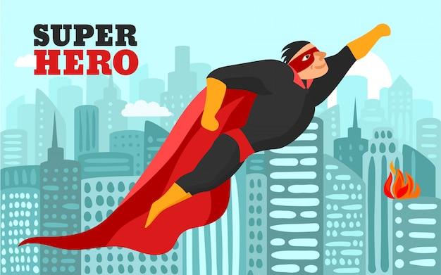 Super-herói na ilustração da cidade