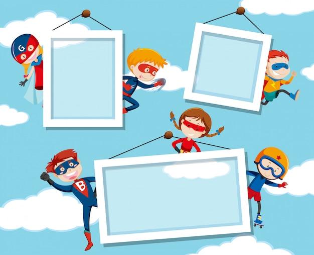 Super-herói no quadro do céu