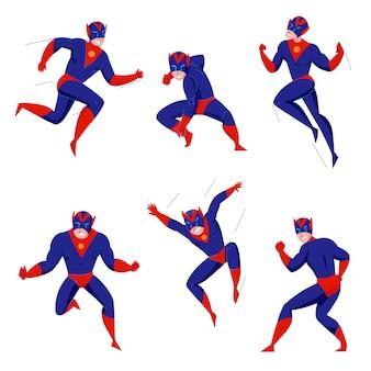 Super-herói poderoso super besta quadrinhos jogos bodysuit azul personagem em 6 poses de ação lutando voando pulando