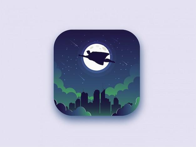 Super-herói que está voando à noite