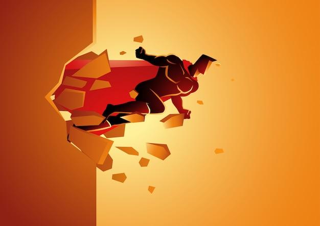 Super-herói quebra através da parede de concreto