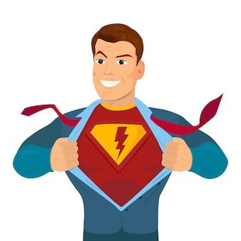 Super-herói, rasgando a camisa e vestindo traje