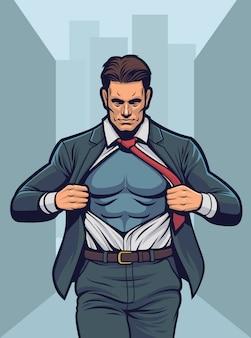 Super-herói rasgando a camisa.