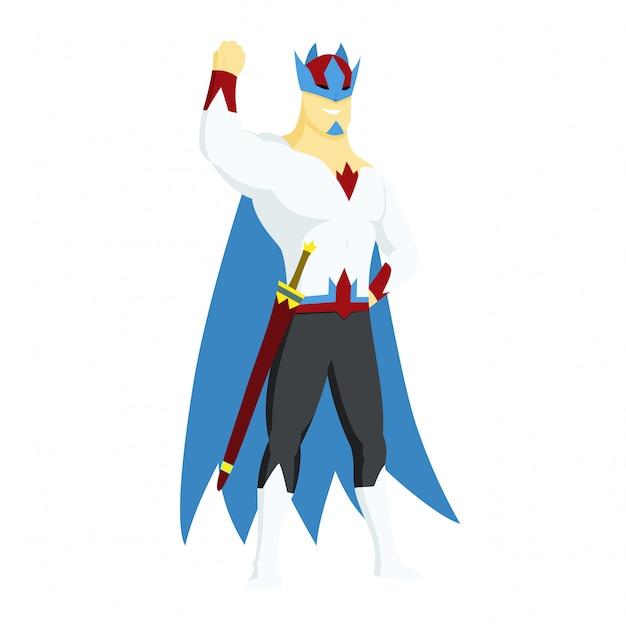 Super herói rei ícone de ações