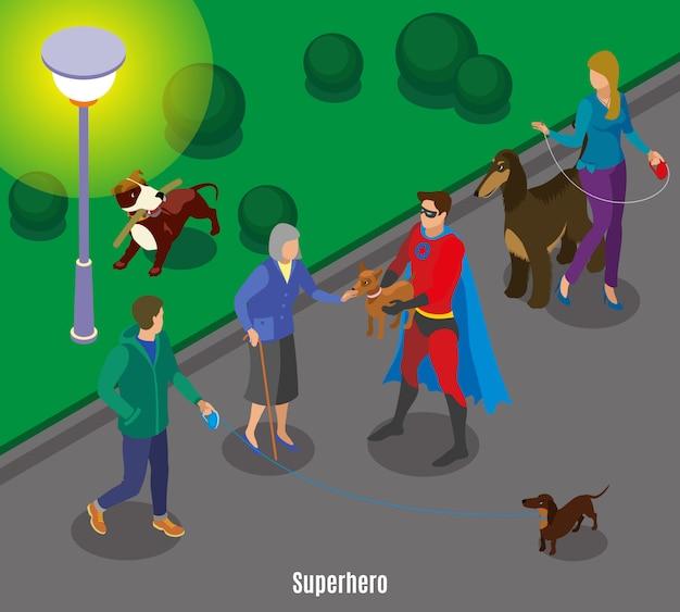 Super herói segurando o animal de estimação da velha senhora durante cães andando no entardecer