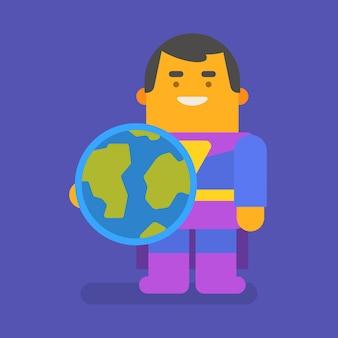 Super-herói segurando o planeta terra e sorrindo. personagem de vetor. ilustração vetorial