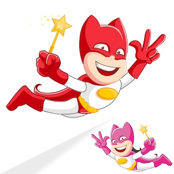 Super-herói superboy supergirls mascote voar cartoon