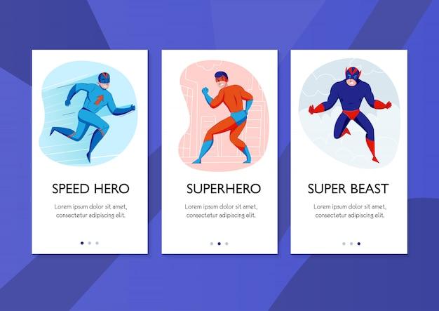 Super-herói velocidade herói super besta quadrinhos personagens ação pose 3 banners verticais fundo azul