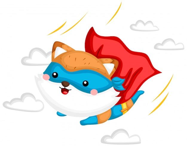 Super-herói voando raposa