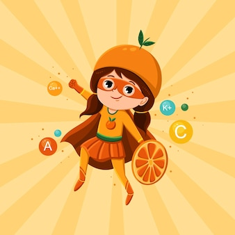 Super heroína de fruta laranja, personagem feminina