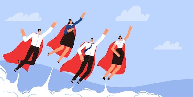 Super-heróis de empresários bem-sucedidos voam no céu em mantos vermelhos.