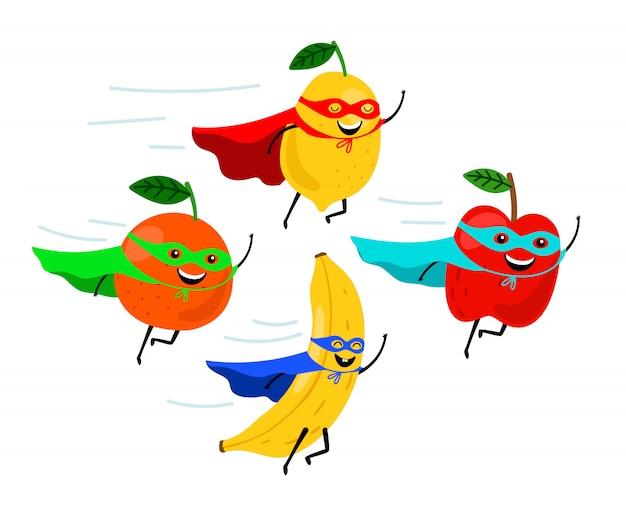 Super-heróis de frutas a sorrir