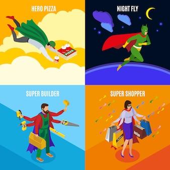 Super-heróis fazendo trabalhos comuns