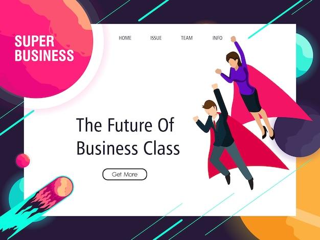 Super homem de negócios e mulheres trabalham para o sucesso